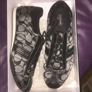 Coach Black and Silver Kirby Sateen Sneakers